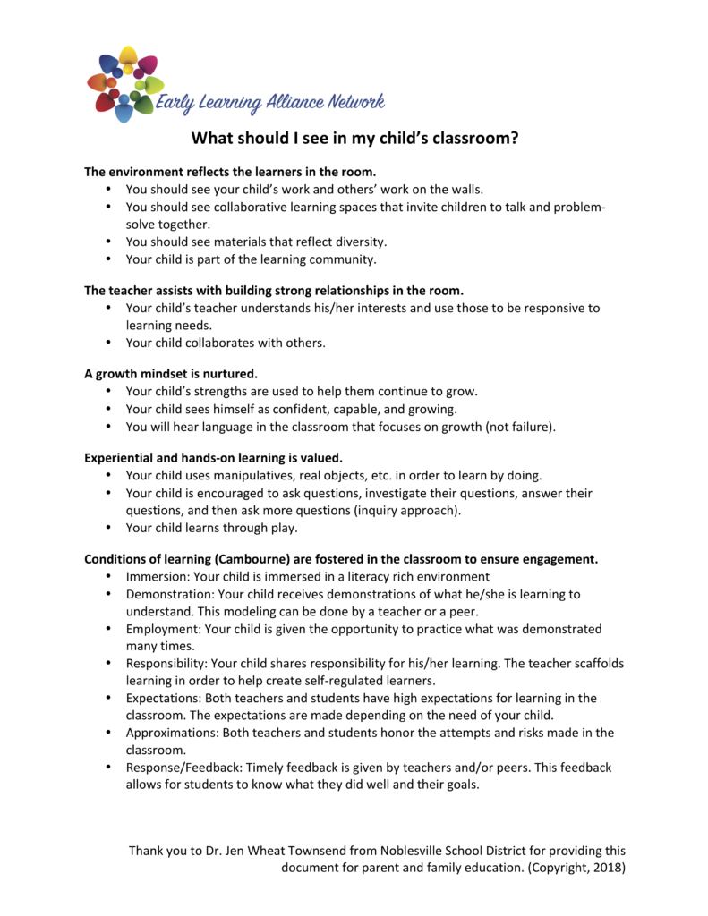 What should I see in my child's classroom (1)
